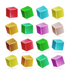 colorful cube 3d set perspective empty vector image vector image