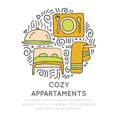 Cozy appartments hand draw cartoon icon vector