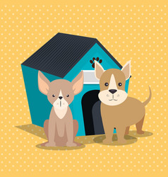Cute dogs with wooden house vector