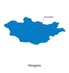 Detailed map of mongolia and capital city ulan vector
