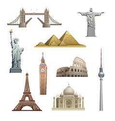 Different famous landmarks vector