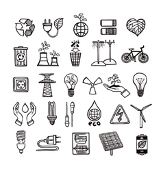 Ecology and energy icon set vector