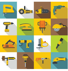Electric tools icons set flat style vector