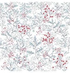Endless pattern with contour winter trees vector image vector image