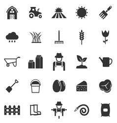 Farming icons on white background vector image vector image