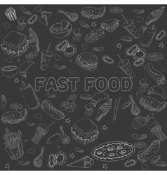 Fast food seamless design chalk line art vector