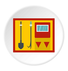 Fire shield with fire extinguishing tools icon vector
