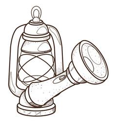Flashlight and lantern inventory hunter woodsman vector