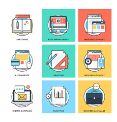 Flat color line design concepts icons 9 vector