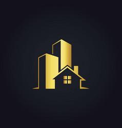 Gold building house logo vector