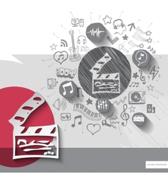 Hand drawn clapboard icons with icons background vector