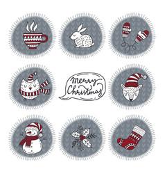 Happy christmas labels vector