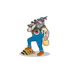 Hillbilly man rifle gold bars money bag cartoon vector