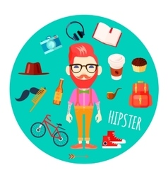 Hipster character accessories flat round vector