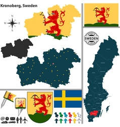 Map of Kronoberg vector image vector image