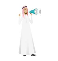 Muslim businessman talking into loudspeaker vector