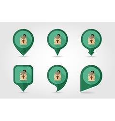 Quail flat pin map icon Animal head symbol vector image