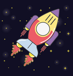 Rocket in the galaxy space exploring the universe vector