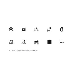 Set of 10 editable car icons includes symbols vector