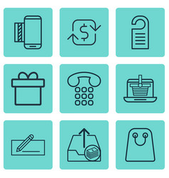 Set of 9 commerce icons includes mobile service vector