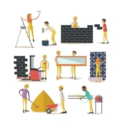 Set of construction workers isolated flat vector