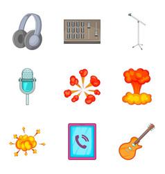 sound control icons set cartoon style vector image