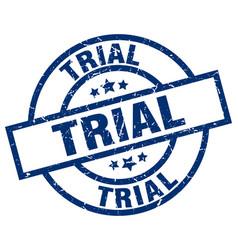 Trial blue round grunge stamp vector