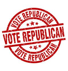 Vote republican round red grunge stamp vector