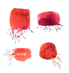 Watercolor collection of banners painted blots vector