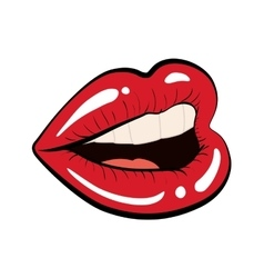 Mouth female lips red retro icon graphic vector