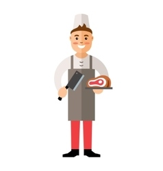 Butcher flat style colorful cartoon vector