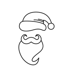 Christmas hat and beard of santa claus icon vector