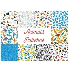Animals and birds seamless patterns set vector image