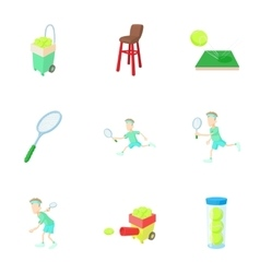Active tennis icons set cartoon style vector