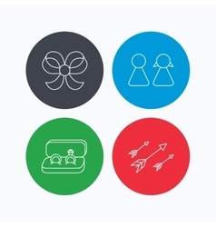 Arrows couple and wedding rings icons vector