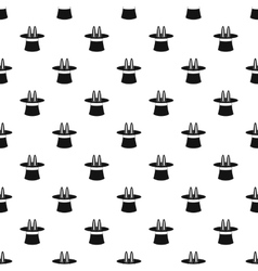 Rabbit ears appearing from magic hat pattern vector image