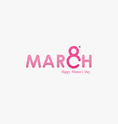 Pink march typographical design elements vector