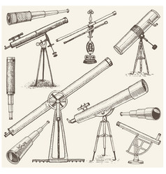 Set of astronomical instruments telescopes vector