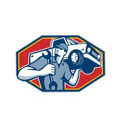 Automotive mechanic car repair retro vector