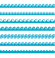 Blue wave water icons set on white background vector