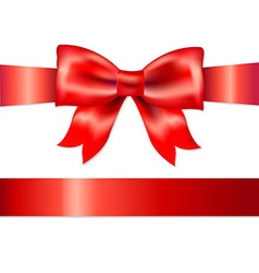 Red gift satin bow vector