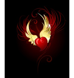 heart with wings foil vector image