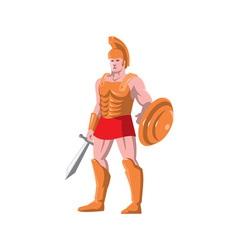 gladiator roman centurion warrior standing vector image