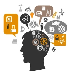 Scientist head with gears and thought bubbles vector