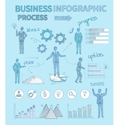 Sketch business people infographics vector