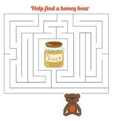 Labyrinth maze find a way bear honey vector