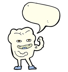 Cartoon strong healthy tooth with speech bubble vector