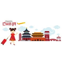 Chinese girl travel china city vector