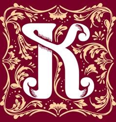vintage letter K vector image