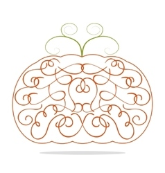 Ornamental decorative orange pumpkin vector